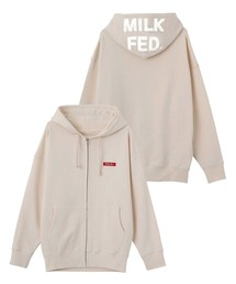 MILKFED.(ミルクフェド)のCHAIN STITCH LOGO BIG SWEAT ZIP HOODIE(パーカー)