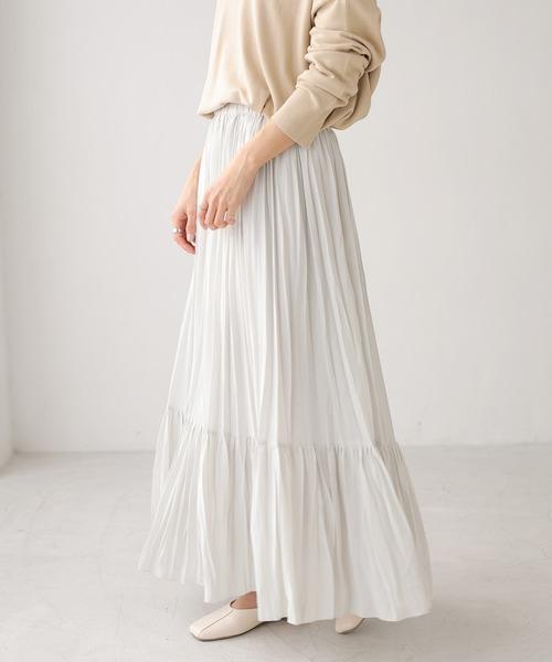 AMERICAN HOLIC(アメリカンホリック)の「プリーツティアードスカート *●(スカート)」|ライトグレー
