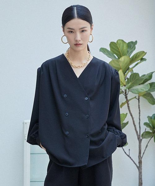 【chuclla】【2021/AW】Tuck collarless blouse chwt21a03