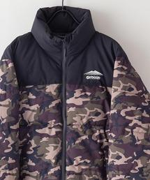 撥水防風ストレッチ耐水圧10000mmスタンド中綿 カモフラージュ(迷彩)ジャケット ワンポイントブランドロゴアーミー