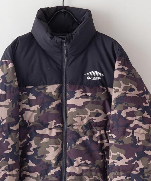 撥水防風ストレッチ耐水圧10000mmスタンド中綿 カモフラージュ(迷彩)ジャケット ワンポイントブランドロゴ