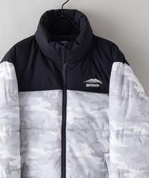 撥水防風ストレッチ耐水圧10000mmスタンド中綿 カモフラージュ(迷彩)ジャケット ワンポイントブランドロゴホワイト