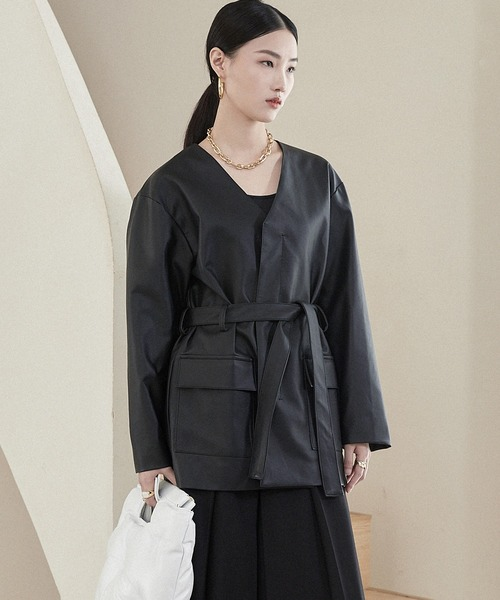 【chuclla】【2021/AW】Collarless PU leather jacket chwt21a04
