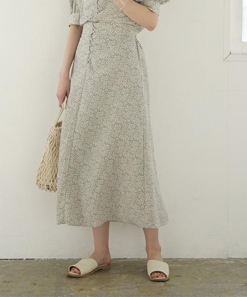 titivate(ティティベイト)の「リーフプリントフレアロングスカート(スカート)」|アイボリー