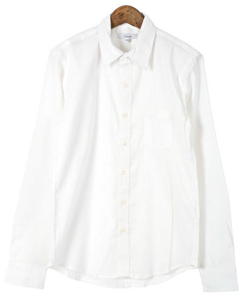 綿麻ストレッチ長袖シャツ