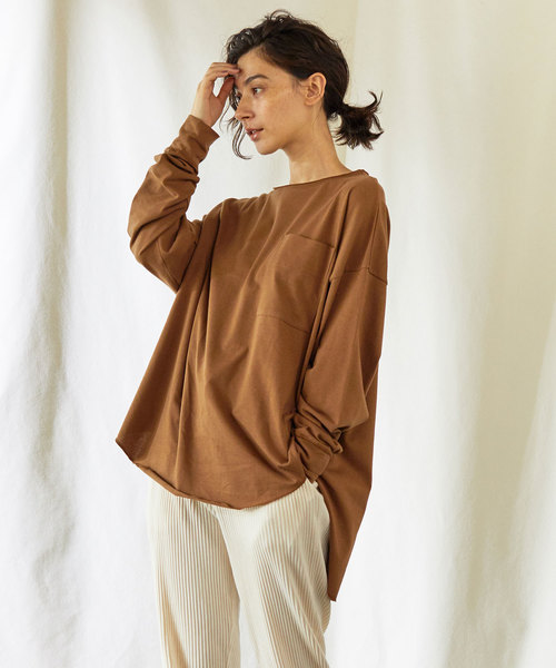 GALLARDAGALANTE(ガリャルダガランテ)の「オーバーポケットロンT【オンラインストア限定商品】(Tシャツ/カットソー)」|キャメル