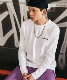 CONVERSE/コンバース 天竺 刺繍ロゴ L/S Tシャツ/長袖ティーシャツホワイト