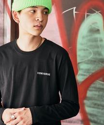 CONVERSE/コンバース 天竺 刺繍ロゴ L/S Tシャツ/長袖ティーシャツブラック