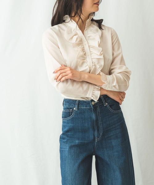 生まれのブランドで サテンストライプフリルリボン長袖ブラウス(シャツ/ブラウス) NARACAMICIE(ナラカミーチェ)のファッション通販, clytie:90431a63 --- blog.buypower.ng