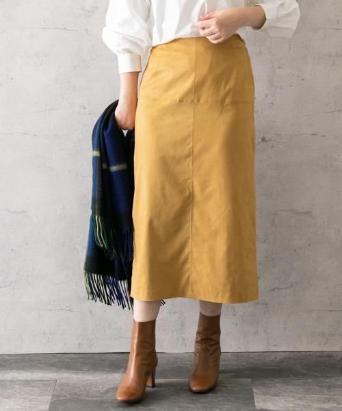 URBAN RESEARCH ROSSO(アーバンリサーチロッソ)の「【スタイリスト川上さやか×ROSSO】ストレッチスエードタイトスカート(スカート)」|マスタード