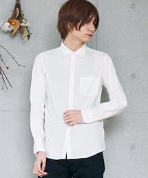 コットンストレッチ オックスフォード 無地チェック柄 L/S シャツ/長袖襟付きシャツホワイト