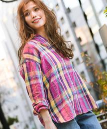 BAYFLOW(ベイフロー)のリネンチェックシャツ(シャツ/ブラウス)