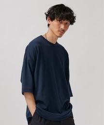 STUDIOUS(ステュディオス)の【STUDIOUS】クリアポンチ6分袖ビッグシルエットクルネックTシャツ(Tシャツ/カットソー)