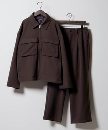 【セットアップ】TRストレッチ スーツ地 オーバーサイズ CPOジャケット & ワイドパンツ -2021SPRING-ダークブラウン