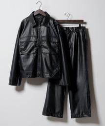 【セットアップ】TRストレッチ スーツ地 オーバーサイズ CPOジャケット & ワイドパンツ -2021SPRING-ブラック系その他