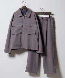 【セットアップ】TRストレッチ スーツ地 オーバーサイズ CPOジャケット & ワイドパンツ -2021SPRING-グレー系その他