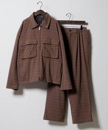 【セットアップ】TRストレッチ スーツ地 オーバーサイズ CPOジャケット & ワイドパンツ -2021SPRING-ブラウン系その他