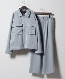 【セットアップ】TRストレッチ スーツ地 オーバーサイズ CPOジャケット & ワイドパンツ -2021SPRING-ブルー系その他