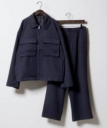 【セットアップ】TRストレッチ スーツ地 オーバーサイズ CPOジャケット & ワイドパンツ -2021SPRING-ネイビー