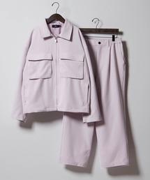 【セットアップ】TRストレッチ スーツ地 オーバーサイズ CPOジャケット & ワイドパンツ -2021SPRING-ライラック