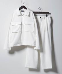 【セットアップ】TRストレッチ スーツ地 オーバーサイズ CPOジャケット & ワイドパンツ -2021SPRING-ホワイト
