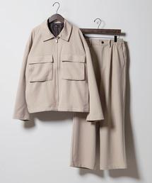 【セットアップ】TRストレッチ スーツ地 オーバーサイズ CPOジャケット & ワイドパンツ -2021SPRING-グレイッシュベージュ