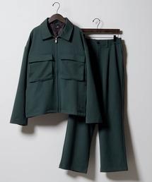 【セットアップ】TRストレッチ スーツ地 オーバーサイズ CPOジャケット & ワイドパンツ -2021SPRING-グリーン