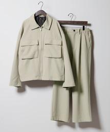 【セットアップ】TRストレッチ スーツ地 オーバーサイズ CPOジャケット & ワイドパンツ -2021SPRING-ライトグリーン