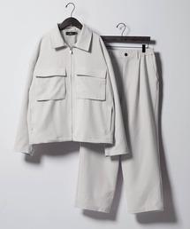 【セットアップ】TRストレッチ スーツ地 オーバーサイズ CPOジャケット & ワイドパンツ -2021SPRING-ライトグレー