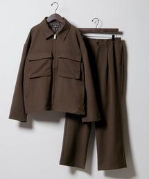 【セットアップ】TRストレッチ スーツ地 オーバーサイズ CPOジャケット & ワイドパンツ -2021SPRING-ブラウン系その他2
