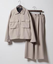 【セットアップ】TRストレッチ スーツ地 オーバーサイズ CPOジャケット & ワイドパンツ -2021SPRING-ベージュ系その他2