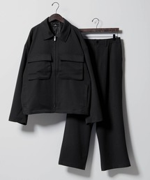 【セットアップ】TRストレッチ スーツ地 オーバーサイズ CPOジャケット & ワイドパンツ -2021SPRING-ブラック