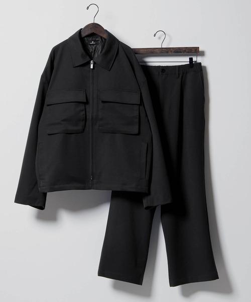 セットアップ TRストレッチ スーツ地 オーバーサイズ CPO ジャケット ブルゾン & ワイドパンツ