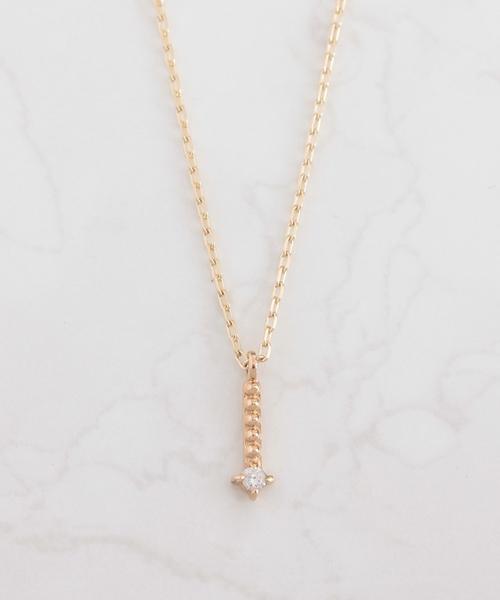 NOIR DE POUPEE(ノワールドプーペ)の「K10 ミルライン ゴールド ダイヤモンド ネックレス(ネックレス)」|クリア