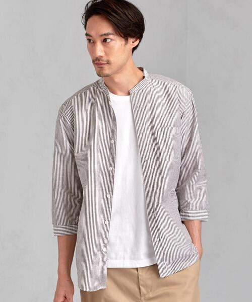 CM 綿×麻 ストライプ バンドカラー 七分袖 シャツ