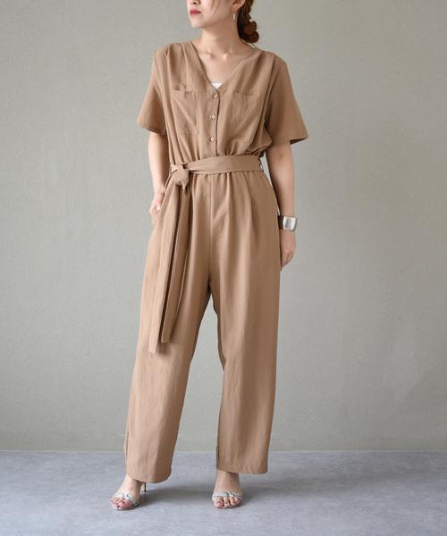 サイド胸ポケットジャンプスーツ