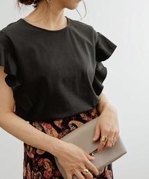 ROPE'(ロペ)の【WEB限定】ラッフル袖フリルカットソー(Tシャツ/カットソー)