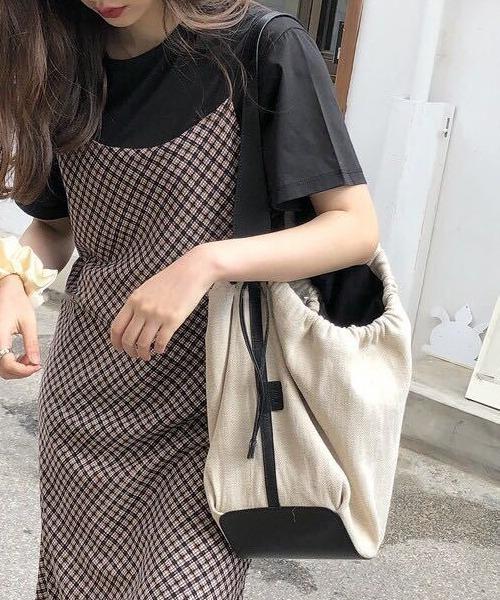 【chuclla】コットンリネン bigショルダー 巾着バッグ cha178