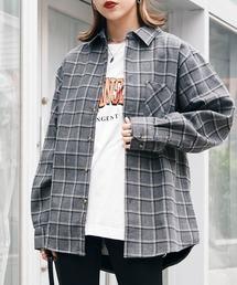オーバーサイズ フリースボンディング チェック柄 L/S ヘビーネルシャツグレー