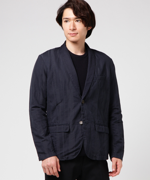 【VALLIS】ドビーストライプショールカラージャケット