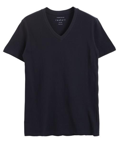 コットンVネック半袖Tシャツ