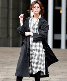 Fashion Letter(ファッションレター)のフード付きロングスプリングコート(トレンチコート)