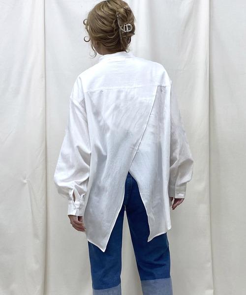 バックスリットスタンドカラーシャツ