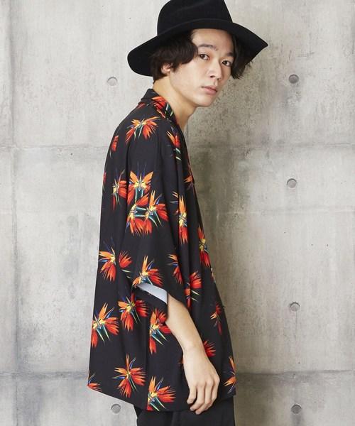 蝶柄アロハシャツ 総柄開襟シャツ