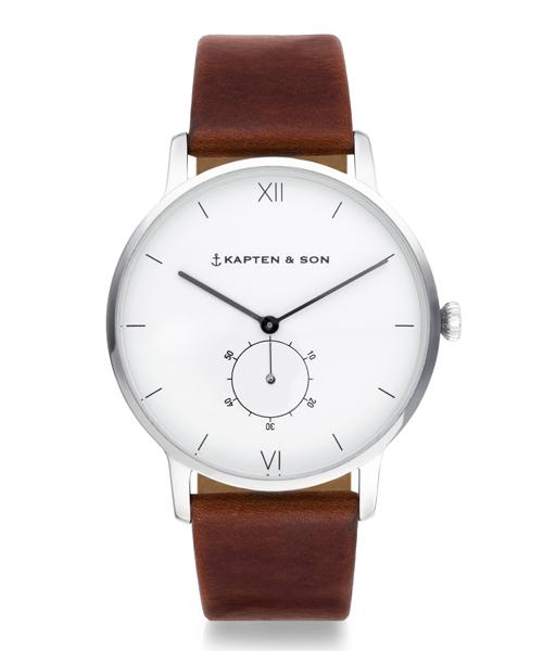 【KAPTEN&SON】シルバー 40mm ホワイト ヘリテージレザー Heritage