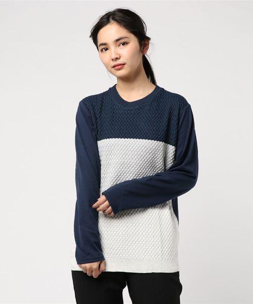 【2】切替ニット風ロングTシャツ