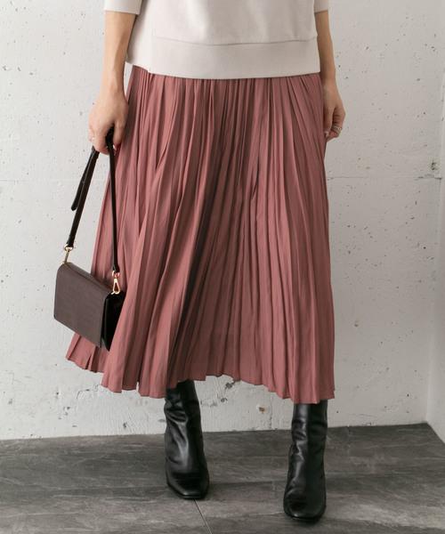 URBAN RESEARCH ROSSO WOMEN(アーバンリサーチ ロッソ)の「プリーツロングスカート(スカート)」 オレンジ系その他