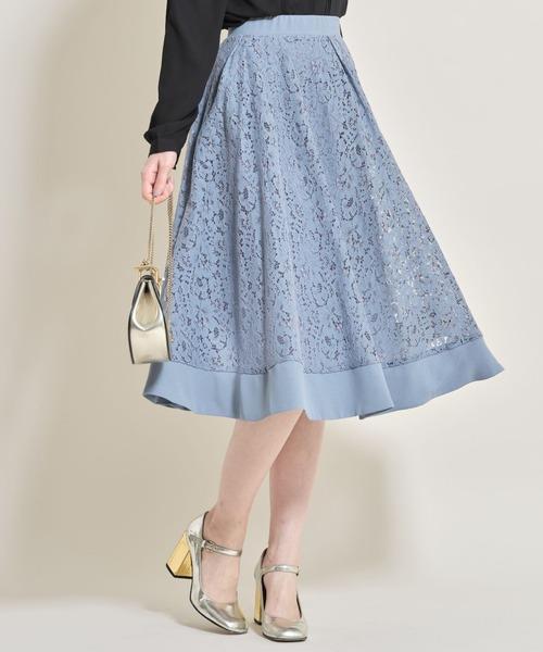 tocco closet(トッコ クローゼット)の「ロマンティックフラワーレースミディ丈フレアスカート(スカート)」|グレイッシュブルー