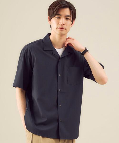 < 機能 / ストレッチ・洗濯機洗い可 > TW ウォッシャブルトロ オープンカラー シャツ #