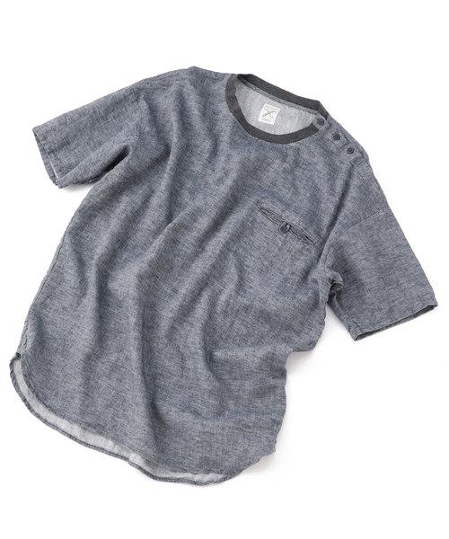 ボタンポケットTシャツ/リネン×コットン